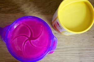 Pink toddler snack container