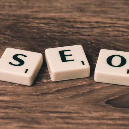 Scrabble letters spelling out the word SEO