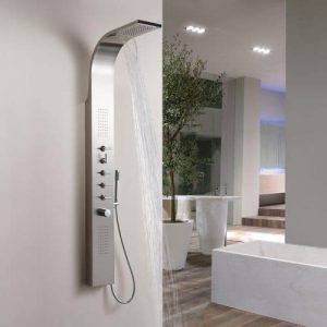 Stainless Steel Thermostatic Shower Panel features an integral fixed shower head with waterfall function, two inset rectangular body jets and a slim hand shower. The attractive styling of this modern thermostatic shower panel tower will be the centrepiece of your bathroom - and deliver a superb shower.